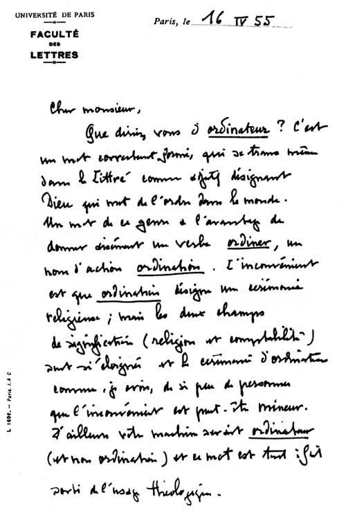 le lettre Ordinateur : la lettre de J.Perret le lettre